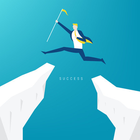 Businessman jump through the gap in the rocks. An employee with a running jump from one cliff to another. Illustration