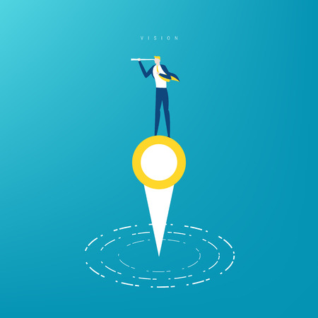 Businessman on map pointer using telescope looking for success and opportunities, vision concept illustration.