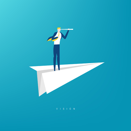 Businessman with monocular on a paper boat as a symbol of business leadership. Illustration