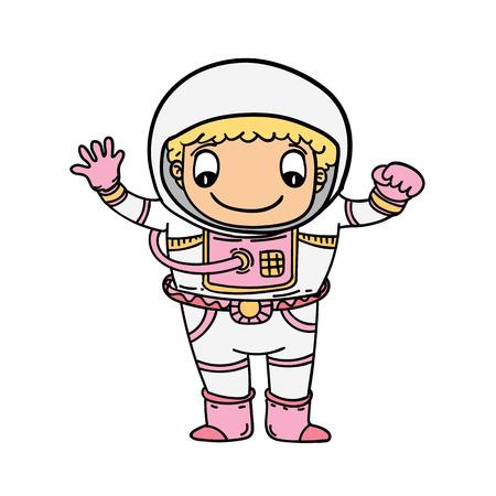 Cartoon happy female astronaut vector illustration.