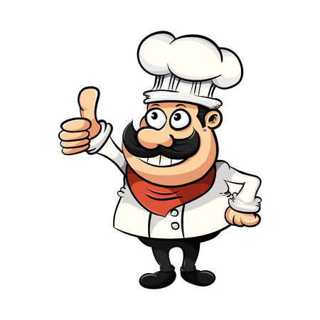 Cute funny chef cartoon illustration.