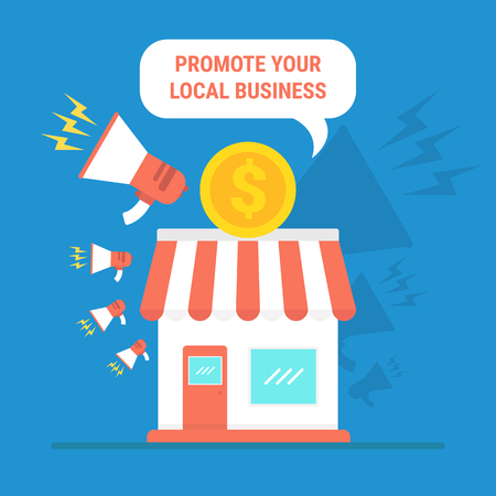 Promote your local business with megaphone, store and dollar sign. Ilustração