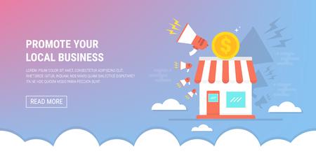 Promocione su negocio local con iconos de tienda, megáfono y dólar. Ilustración de vector