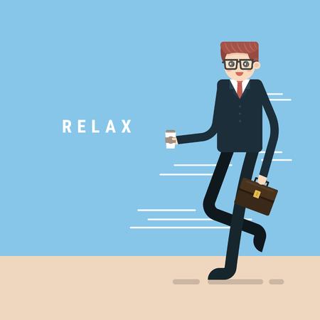 Businessman like coffee,drinking coffee, tea break time in bright office.