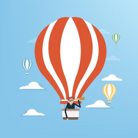 Businessman in hot air balloon Illustration
