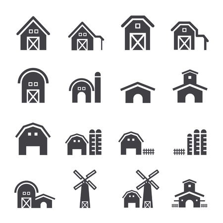 Barn and farm building icon set Vettoriali