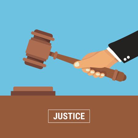 Hand holding judges gavel vector illustration in flat design on blue background, justice concept.