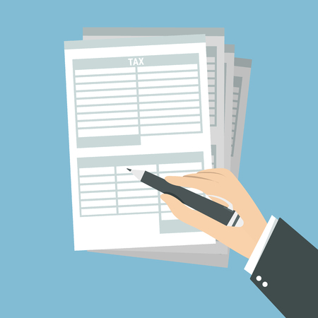 Man hands filling tax form. Tax form isolated on blue background. Vector illustration. Flat style.
