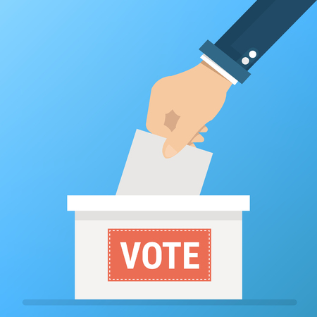 Vote vector, voting concept in flat style - hand putting paper in the ballot box Illustration