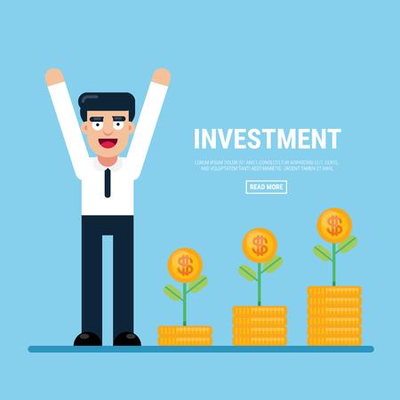 Businessman investment concept, gold coin, success concept. Vectores