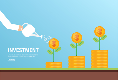 Businessman is watering a tree of money. Increase revenue and investment. Illustration