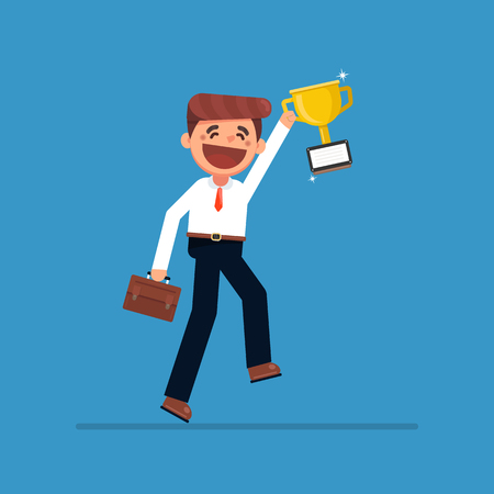Businessman or a successful manager holding a prize. Vector illustration of a flat design