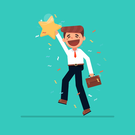 Businessman hold a big gold star, victory, rating vector, illustration, flat. Positive star feedback. Victory or classification rating concept quality assurance survey.