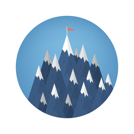 Success or leadership concept with mountain landscape vector illustration. Иллюстрация