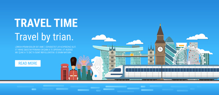 Travel by train vector illustration for your design and infographic template. Иллюстрация
