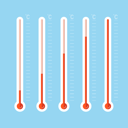 illustration of red thermometers with different levels, flat style, EPS10. 向量圖像
