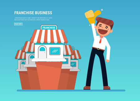 Businessman want to expand his business, Franchise Concept. vector flat design