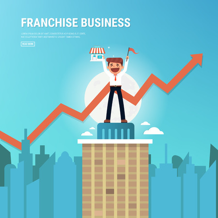 Businessman want to expand his business, Franchise Concept. vector. flat design, success concept. 向量圖像