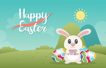 Happy Easter poster template vector illustration Stock Illustratie