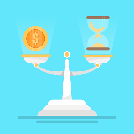 time and money on the balance scale , balance life concept, concept of make money more important than your free time, vector illustration Stock Illustratie