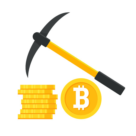 Bitcoin mining concept with pickaxe and coin
