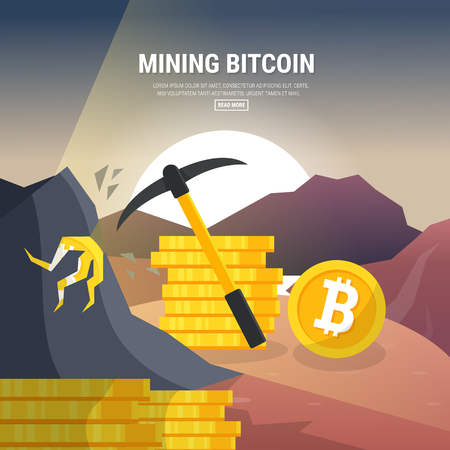 Flat design, Mining bitcoin concept. Pickaxe, coins and mountains. Earning cryptocurrency.