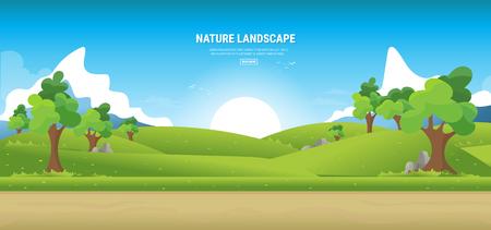 Rural summer landscape, nature lanscape.