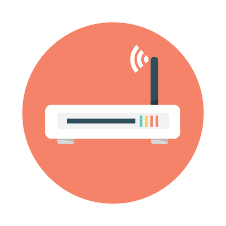 Router flat icon. Vector router. Router and signal symbol. Ilustracja