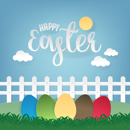 Happy Easter greeting card with colorful eggs. A realistic vector image that simulates paper. Ilustração
