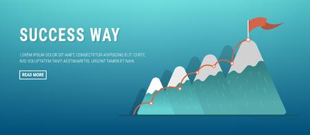 Flag on the mountain peak. Business concept, goal achievement, success, winning. Flat style, vector illustration.