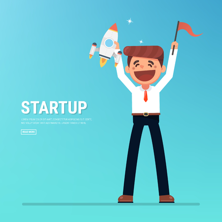 startup business, flat design, flat style, vector, project start up and development process.