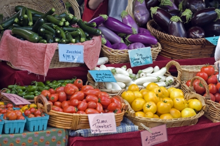 Fruits and vegtables from a local farmers market. Stock Photo