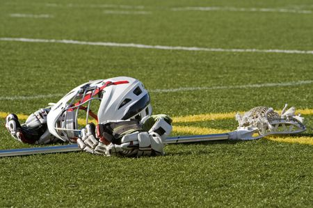 Lacrosse equipment on the field