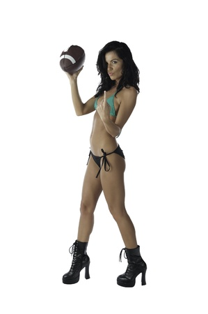 football boots: Sexy brunette stating football is #1