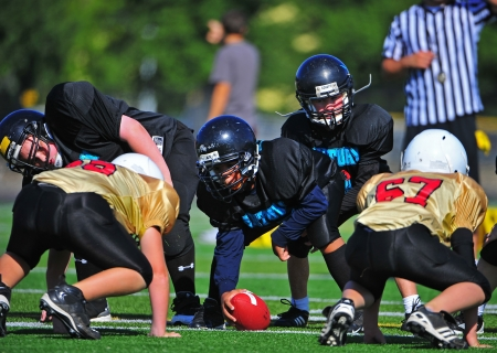 September 24, 2011 American Football (Youth 5-6th Gr) Oregon's Forest Grove HS Vikings Youth  V Hillsboro Century HS Jaguars Youth.   Century Jags take control of the scrimmage line as the ball is ready to be put into play. Score not kept.  Stock Photo - 11390334
