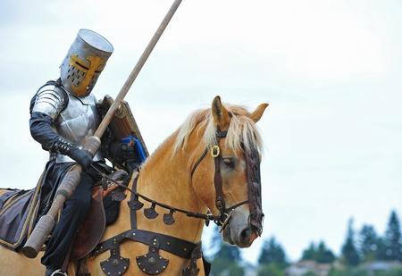 steed: Saturday August 13, 2011 Washington State Renaissance Fayre held this year in Bonney Lake Washington.  Here a Knight mounted on his trusty steed prepares for the next round of joust. Editorial