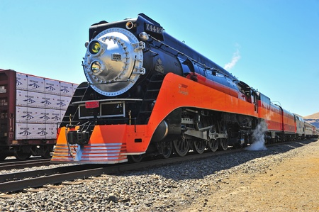 July 02, 2011 Southern Pacific Lines Daylight Steam engine #4449 parked at the Wishram Washington Station waiting for it Stock Photo - 11440975