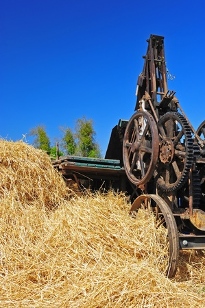bailer: A large pile of hay sitting next to a steam era hay bailer.