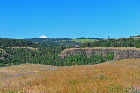deteriorating: Tip of mount hood visible off in the distance of this scenic view in the gorge