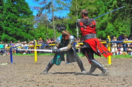 Saturday July 23, 2011 Canterbury Renaissance Fayre held this year just off Mount Angel Highway in Silverton Oregon.  The red and green knights battle it out with their swords after the green knight was knocked from his mount.