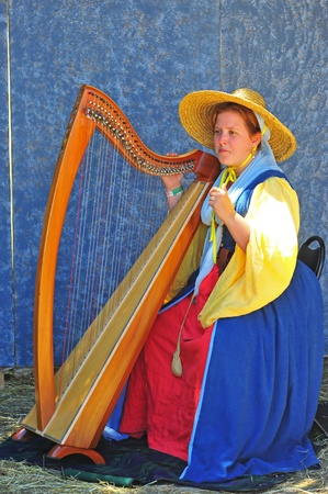Saturday July 23, 2011 Canterbury Renaissance Fayre held this year just off Mount Angel Highway in Silverton Oregon.  A musician plays the harp to sooth the guest between jousting competitions.