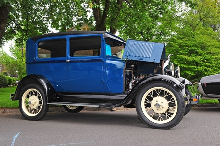 restored: June 11, 2011 21st Annual Crusin Sherwood Oregon car show.  A restored blue 1929 Ford Model A Tudor.