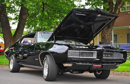 June 11, 2011 21st Annual Crusin Sherwood Oregon car show.  A restored Black 1968 Pontiac GTO owned by Shane of Newberg Oregon.