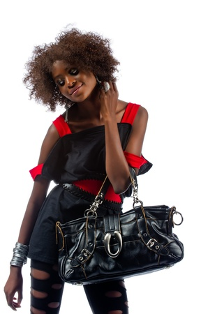 Young beautiful African woman with a large handbag Stock Photo - 16114371