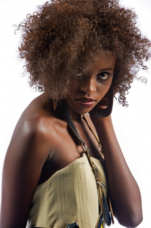 Beautiful black woman with a seductive look at the camera Banco de Imagens