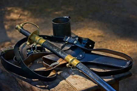 Union officers sword and hand gun  Stock Photo