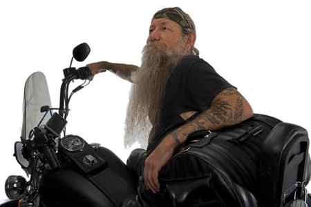 Stare myślenie motocyklistów z radości, że miał na swoim rowerze