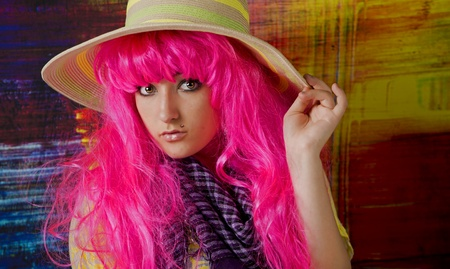 shy girl: Shy girl with Pink hair and sun hat Stock Photo