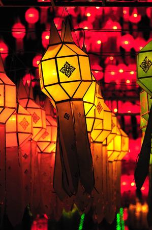 colorful lantern: Colorful Lantern Festival or Yee Peng Festival , Chiang Mai ,Thailand