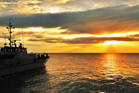 ship in the sunrise photo